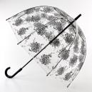 Černý deštník průhledný květy
